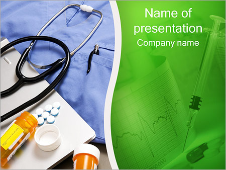 Stethoscope and Medication PowerPoint Template