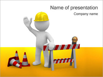 Under Construction & Worker PowerPoint Template