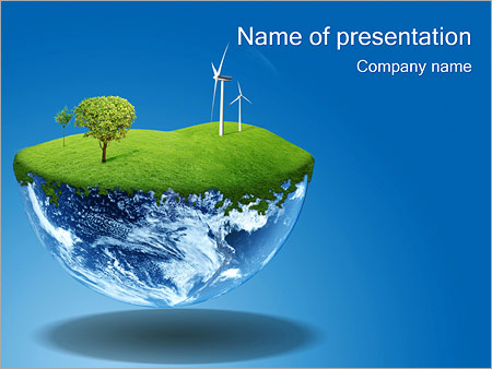 Globe with Wind Turbines PowerPoint Template