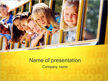 Kids in School Bus PowerPoint Template