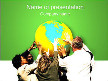 People Holding the Earth PowerPoint Template