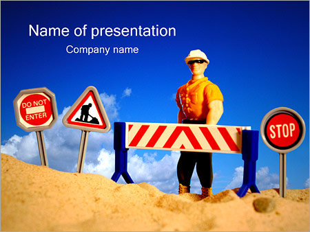 Road Under Construction Powerpoint Template Infographics Slides