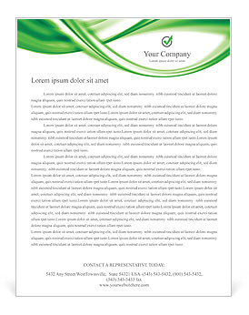 Green Abstract Waves Letterhead Template