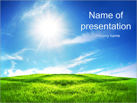 Clean Sky And Green Grass Powerpoint Template Infographics Slides