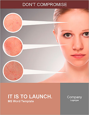 Concept skincare. Skin of beauty young woman before and after the procedure on a gray background Word Template - Page 1