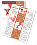 Dog in love with a red heart balloon Newsletter Template