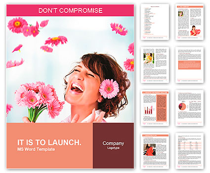 Cheerful girl with a bouquet of pink flowers Word Template