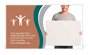 Happy young man showing and displaying placard ready for your text or product Business Card Template