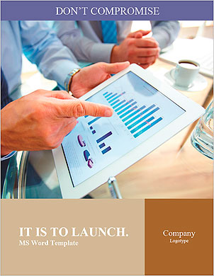 Modern people doing business, graphs and charts being demonstrated on the screen of a touch-pad Word Template - Page 1