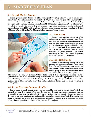 Modern people doing business, graphs and charts being demonstrated on the screen of a touch-pad Word Template - Page 8