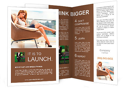 Young woman sitting on chair with laptop. Brochure Template