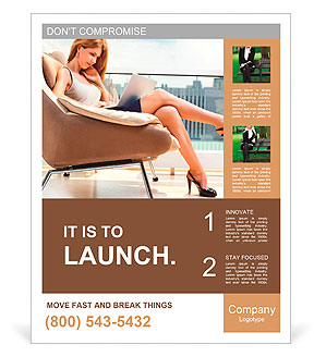 Young woman sitting on chair with laptop. Poster Template