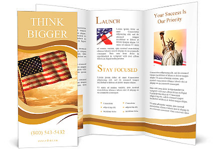 Old American Flag waving over sunset, USA flag for USA Independence Day, USA The Stars and Stripes f Brochure Template