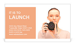 Picture of calm teenage girl with digital camera Business Card Template