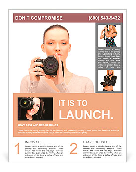 Picture of calm teenage girl with digital camera Flyer Template