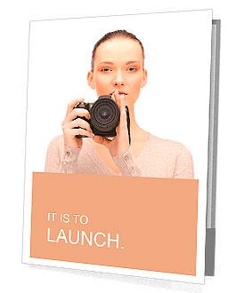 Picture of calm teenage girl with digital camera Presentation Folder