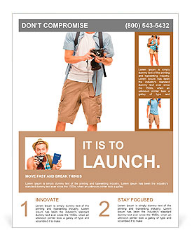 Full length portrait of happy tourist photographer man on white background Flyer Template