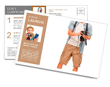 Full length portrait of happy tourist photographer man on white background Postcard Template