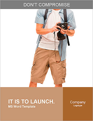 Full length portrait of happy tourist photographer man on white background Word Template - Page 1