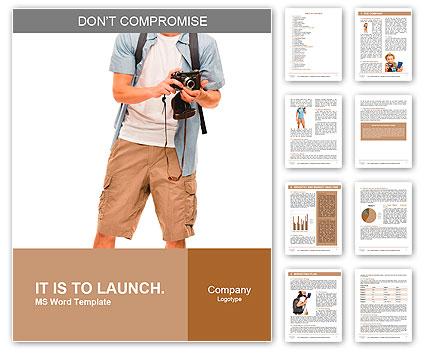 Full length portrait of happy tourist photographer man on white background Word Template