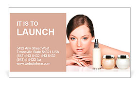 Young woman and skincare products. Space for text. Business Card Template