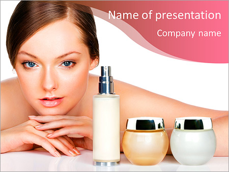 Young Woman And Skincare Products Space For Text Powerpoint Template Infographics Slides