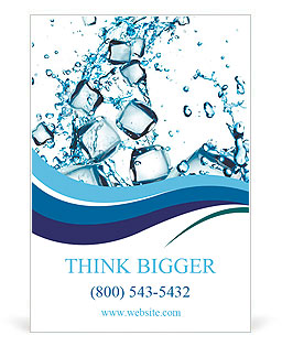 Water splash with ice cubes Ad Template