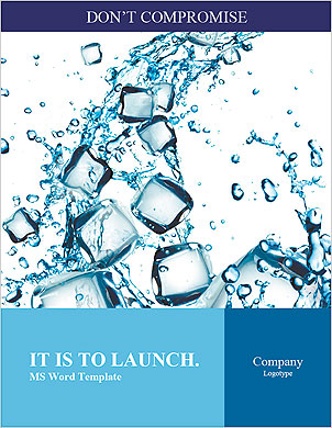 Water splash with ice cubes Word Template - Page 1