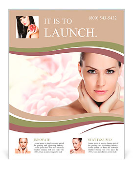 Portrait of young beautiful woman with healthy skin Flyer Template