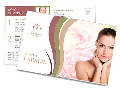 Portrait of young beautiful woman with healthy skin Postcard Template