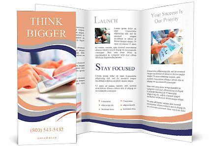 Female office worker using touchpad Brochure Template