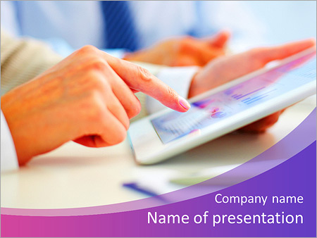 Female office worker using touchpad PowerPoint Template