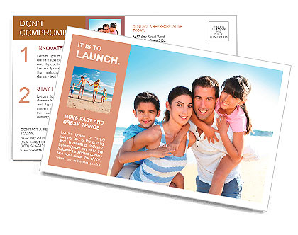 Closeup of happy family at the beach Postcard Template
