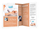 Business person working on computer against technology background Brochure Template