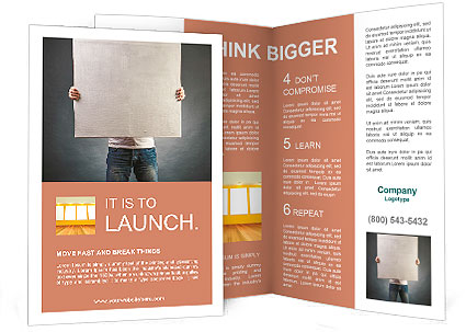 Male holds a square canvas primed Brochure Template