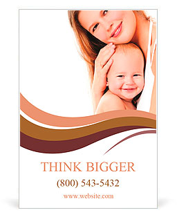 Young mother hugging baby Ad Template