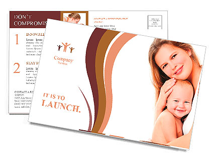 Young mother hugging baby Postcard Template