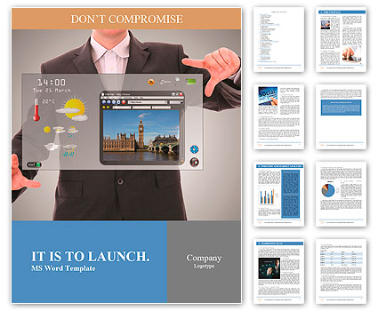 Digital world concept graphic, presentation made by businessman on futuristic user interface Word Template