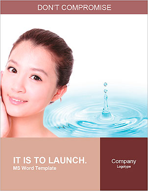 Skincare woman hand touch face with smile , water drop background, concept for cosmetic, beauty hygi Word Template - Page 1