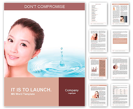 Skincare woman hand touch face with smile , water drop background, concept for cosmetic, beauty hygi Word Template