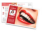 Woman smile. Teeth whitening. Dental care. Postcard Template