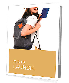 Portrait of happy tourist woman holding passport on holiday ready to go Presentation Folder