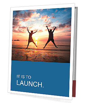 Concept of long-awaited vacation: Young couple in a jump on the sea beach at sunset. Presentation Folder