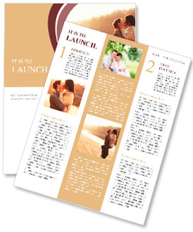 Young beautiful couple in love staying and kissing on the beach on sunset. Soft sunny colors. Newsletter Template