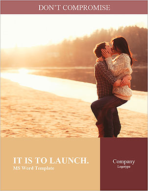 Young beautiful couple in love staying and kissing on the beach on sunset. Soft sunny colors. Word Template - Page 1