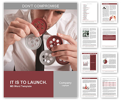 Teamwork concept with businessman working with gear Word Template