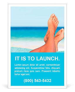 Vacation holidays. Woman feet closeup of girl relaxing on beach on sunbed enjoying sun on sunny summ Ad Template