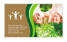 Happy children playing head over heels on green grass in spring park Business Card Template