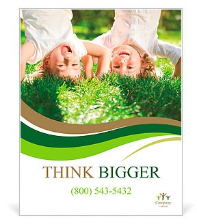 Happy children playing head over heels on green grass in spring park Poster Template