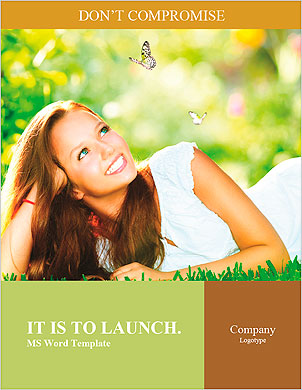 Spring Beauty Girl. Beautiful Young Woman Lying on Green Grass outdoor. Park. Meadow. Summer. Spring Word Template - Page 1